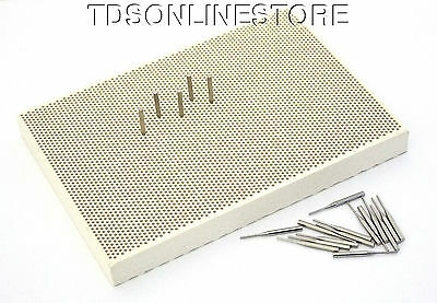 Medium Sized Honeycomb Ceramic Soldering Block With Metal Pins