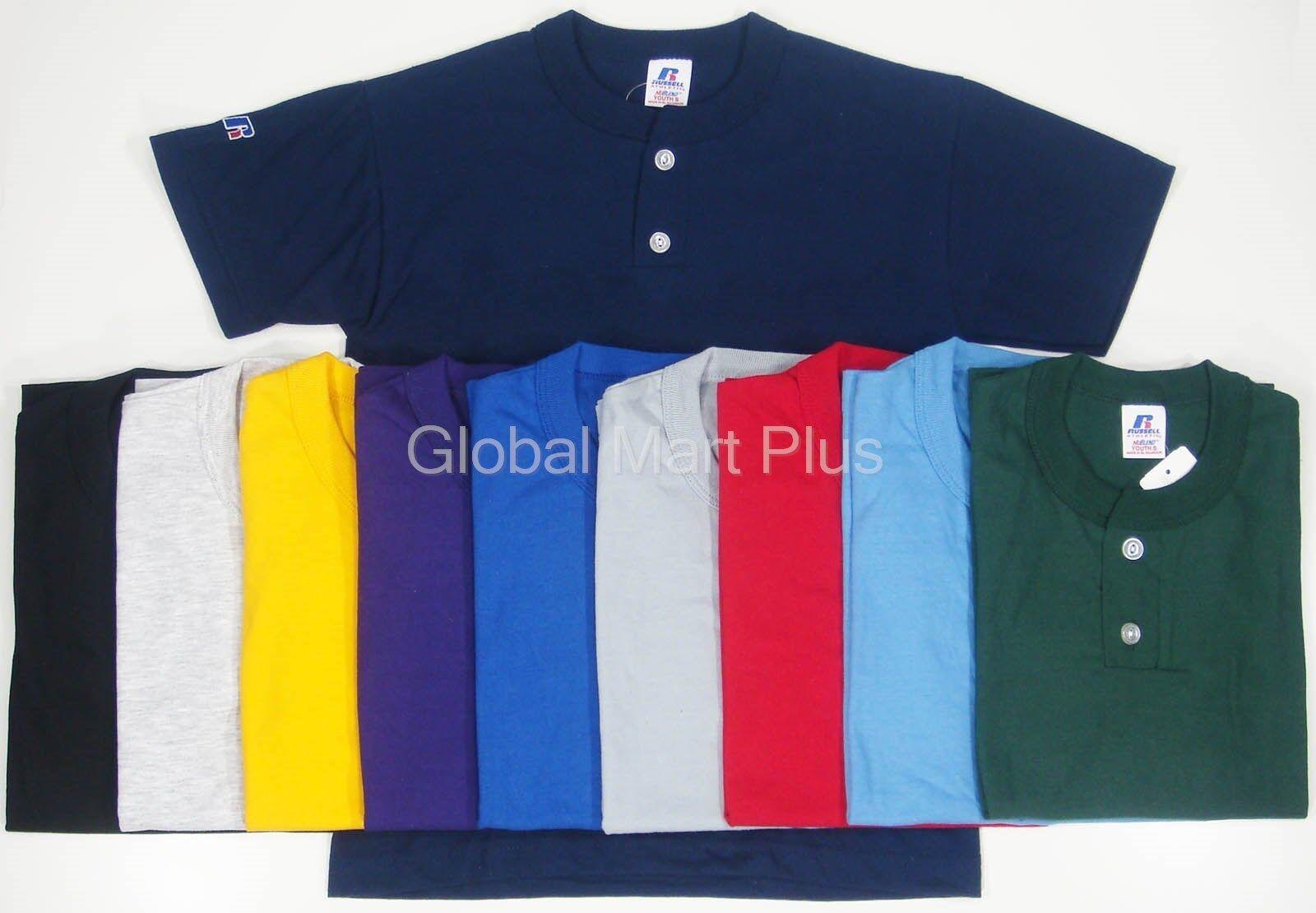 Henley Youth Baseball T-Shirt Tee NuBlend 2 Button Short Sle
