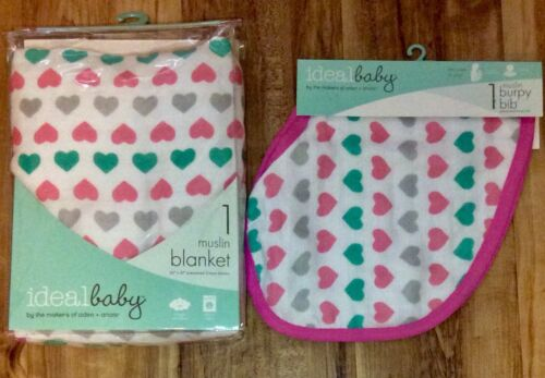 """Ideal Baby muslin blanket and Bib Hearts 42"""" x 42"""" by makers"""
