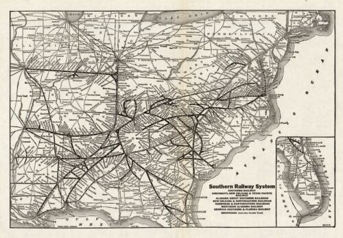 1934 Antique SOUTHERN RAILWAY Map Vintage Southern Railroad Map 8024