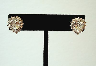 (Sterling Silver- Large Heart Crystal Stud Earrings)