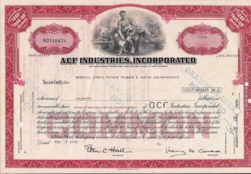 Stock certificate ACF Industries, Inc. 50 shares. Broker Merrill Lynch 1976