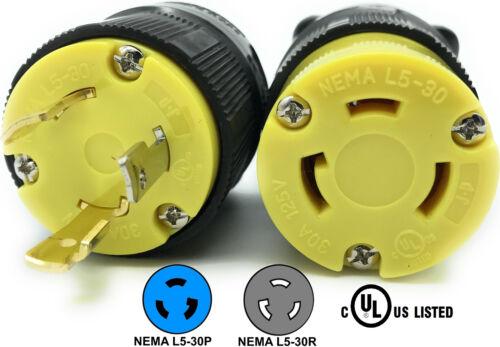 NEMA L5-30 Plug Connector Set RV Generator Replacement 30amp 125v L5-30P L5-30R