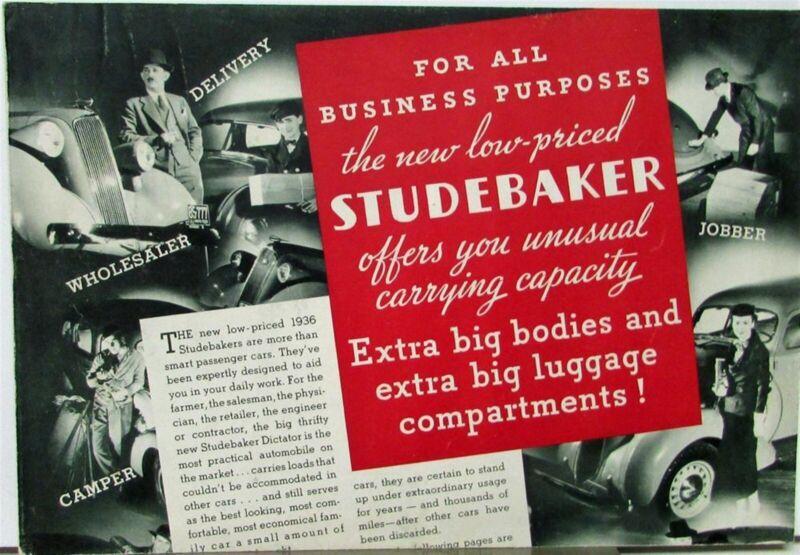 1936 Studebaker For All Business Purposes Sales Brochure Folder Original