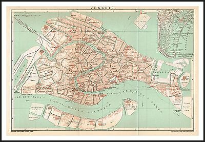 VENICE City Plan map circa 1894 Original print Italy