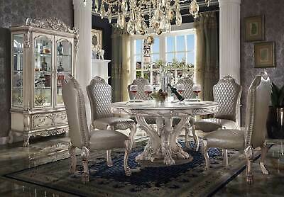 Traditional Antique White 7pcs Dining Room Furniture Round Table Chairs Set CA5