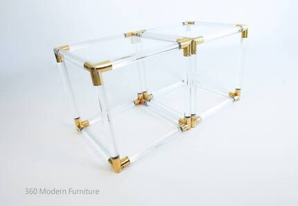 Lucite Gold Coffee Side Tables x2 Hollywood Regency Retro Vintage
