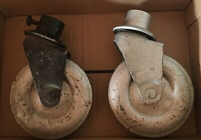Pair Of Atwood Large Metal 1000 Lb Capacity Casters 6 Wheels 1 34 Holder