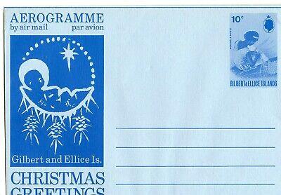 GILBERT & ELLICE ISLANDS AEROGRAMME 10c CHRISTMAS, VERY CLEAN            (B769)