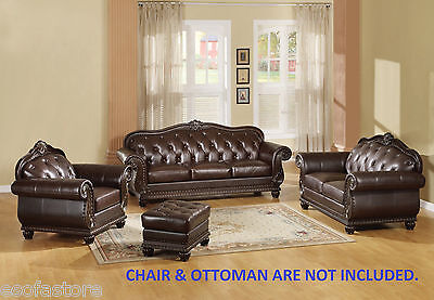 Anondale Top grain Leather sofa, love seat & chair 3 Pc Antique Traditional set ()