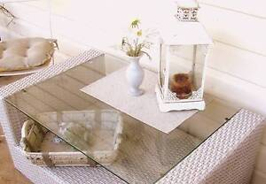 Wicker Coffee Table Glass Top Patio Outdoor Garden Furniture Kyogle Kyogle Area Preview