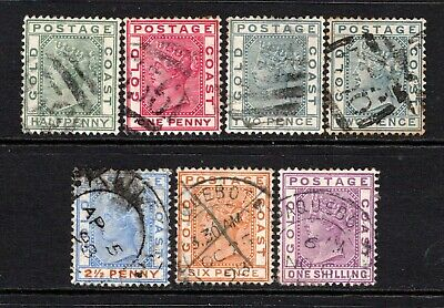 Gold Coast QV 1884-91 (Wmk CA) Selection to 1s Used