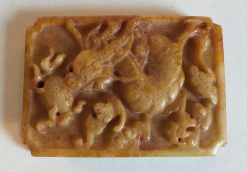 Hand Carved Chinese Jade Dragon Amulet / Pendant