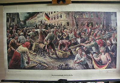 Schulwandbild Wandbild Bild Kämpfe Berliner Berlin 1848 März Revolution 115x73cm