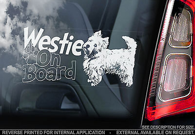 Westie - Car Window Sticker - West Highland White Terrier Dog On Board Sign TYP2