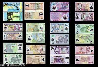 Polymer Banknote Set 12 PCS all Mint Uncirculated Banknotes Set # 3