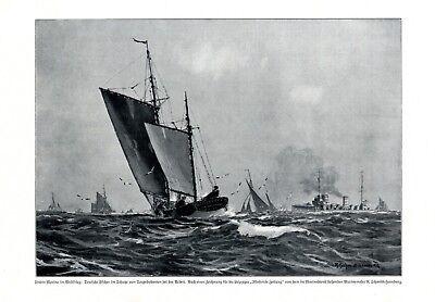 Schiff Störtebeker Finkenwerder XL Kunstdruck 1917 Fischer Torpedoboote WK 1