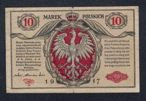 POLAND  10  MAREK  1917   PICK #  12 FINE+.