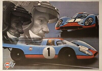 Original Vintage Poster GULF PORSCHE 917 Automobile Racing Le Mans 2-Sided 1971