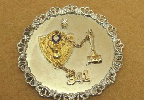 Vintage Sterling Silver BPOE Past President Emblem Club - Elks 341 Diamond Pin