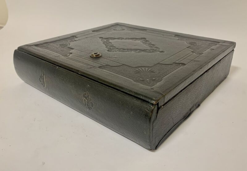 Antique Victorian Leather Writing Slope Stationery Document Box Faux Book