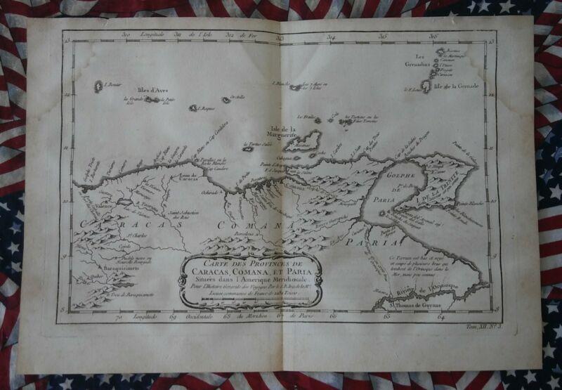 RARE ORIGINAL MAP FROM 1760 CARACAS, COMANAS, & PARIA VENEZUELA.  FRENCH MAP