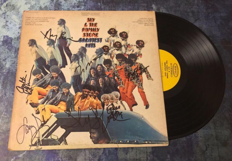 GFA Rare Band x7 * SLY AND THE FAMILY STONE * Signed Vinyl Record Album AD7 COA