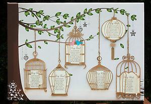 Grand a1 a2 toile table de mariage plan antique oiseaux vintage cages ebay - Plan de table cage oiseau ...