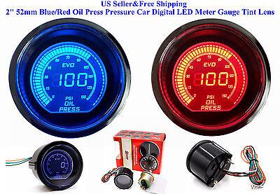 """2"""" 52mm Blue/Red Oil Press Pressure Car Digital LED Meter Gauge Tint Lens US"""