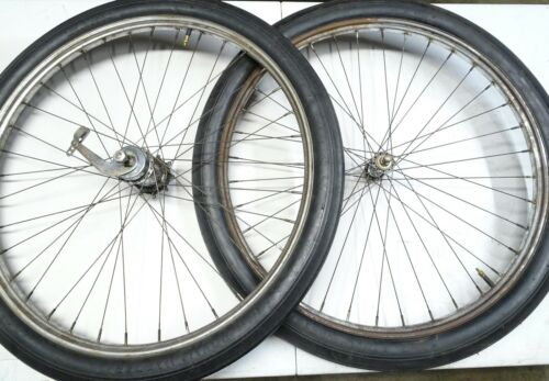 "VINTAGE PREWAR 1935 26"" TRIPLE STEP WHEEL SET WITH TIRES"