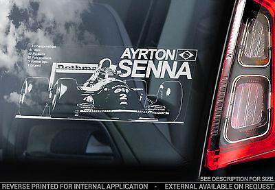 Ayrton Senna - F1 Car Window Sticker - Formula 1 Williams FW16 S - TYP2