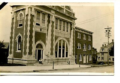 Farmers Merchant Bank Building Man On Steps Rppc Vintage Real Photo Postcard