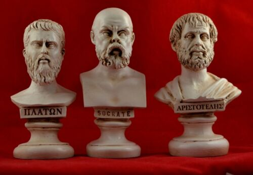 Socrates , Plato, Aristotle Bust greek Philosophers Patina Set NEW Free shipping