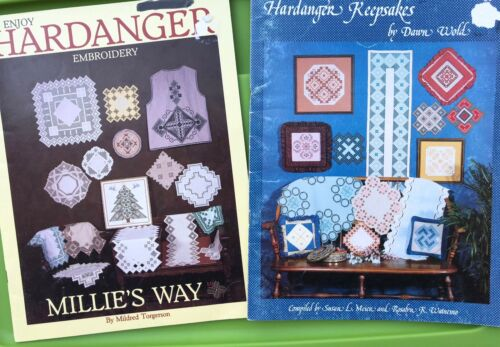 Hardanger Embroidery Keepsake Pattern Book Lot - Doily Runners Table Settings