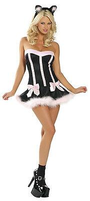 Halloween Katze Puppe Kostüm Minikleid Kostüm Outfit + Ohren Unterwäsche