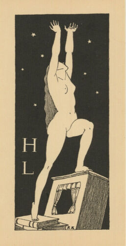 Rockwell KENT exlibris H L Reaching Erotic Nude Wood Engraving X2 Bookplate