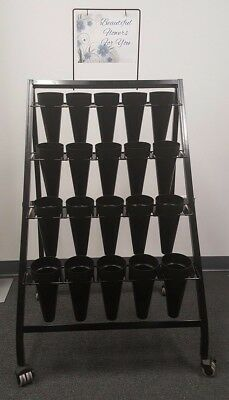 Mobile Display Cart- Features 20 Waterproof Vases And Locking Casters