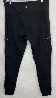 Athleta Women's Black Leggings Size XL Nylon/Spandex Yoga Pants Zip Pockets EUC