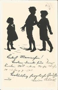 Kinder, Scherenschnitt, Schattenbild, alte Ansichtskarte von 1912