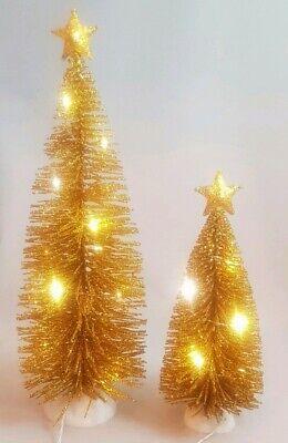 Christmas Tree Gold Glitter Set 2 Table Decor Light Up LED Holiday Centerpiece ()