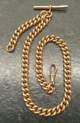 Antique 18ct Rolled Gold Curb Link Albert Pocket Watch Chain By S.P.