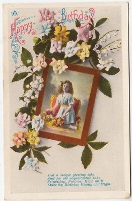 A HAPPY BIRTHDAY - Cute Little Girl #1210 - Made In Germany - 1914 used postcard