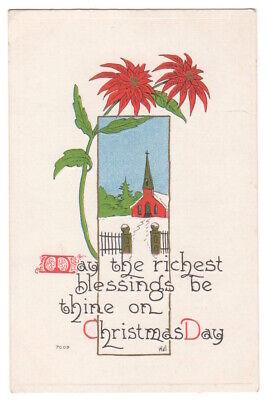Blessings on Christmas Day c1913 snow scene, poinsettia, vintage embossed pc ()