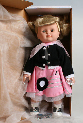 16in GIRL DOLL IN RECORD POODLE SKIRT W/ GLASSES, BLONDE HAIR W/ CLOSING EYES  - Girl In Poodle Skirt