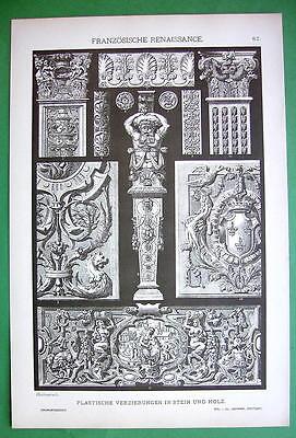 RENAISSANCE Wood & Stone Carvings - Litho Antique Print
