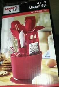 11 pcs red kitchen utensil set revolving caddy holder fat for Apple kitchen decoration set