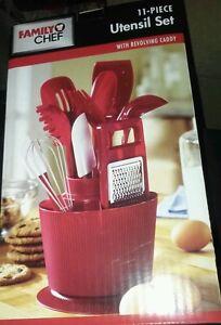 11 pcs red kitchen utensil set revolving caddy holder fat for Apple kitchen decoration set