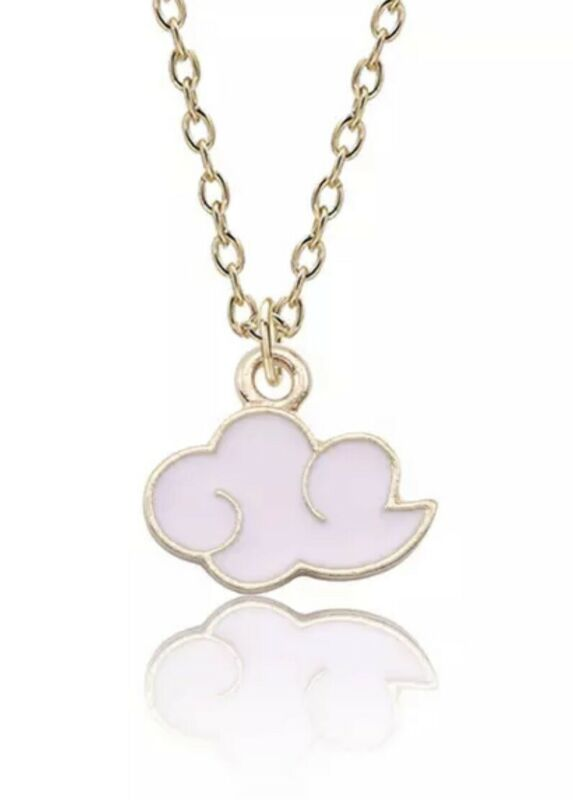 "Naruto Akatsuki Pink Cloud Necklace Gold Anime Cosplay 0.7"" Pendant US Seller"