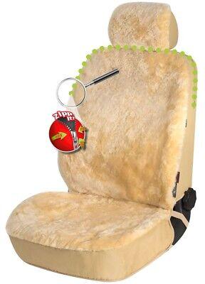 Reißverschluss Lammfell Autositzfell + Kopfstütze beige, ZIPP IT System - Lammfell Reißverschluss Vorne