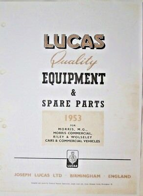 LUCAS PARTS CATALOGUE ON CD FOR ALL 1953  MORRIS MG RILEY & COMMERCIAL MODELS